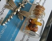 DRAGONFLY necklace, charms on chain, Dragonfly In Amber- inspired necklace