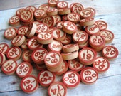 Vintage Wooden Bingo Number Game Pieces, Wood Numbers for Mixed Media, Altered Art, Collage, Assemblage Supplies, 70 Wooden Call Numbers