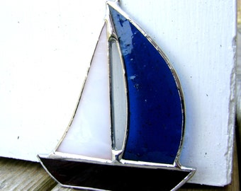 SailBoat Nautical Boats Stained Glass Ornament Sailing Pirates Schooner Ships Sloop Ketch Yacht  Fathers Day Bluenose Canadian Handmade