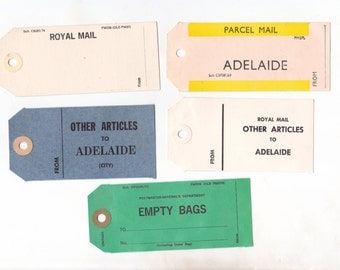 Lot of 5 Vintage Cardboard Postal Tags | Australia Post Ephemera | Mail Art | For Crafting or Collecting |