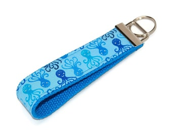 Octopus Keychain - Fabric Key Fob Wristlet