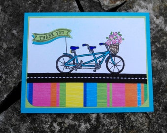 In Tandem Bicycle Thank You Card with John Lennon Quote