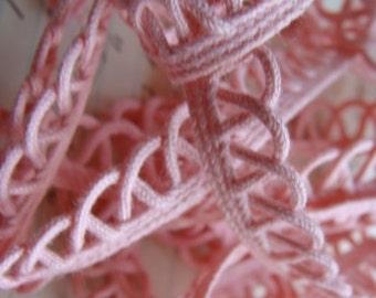 Vintage Pink Lace Trim 1950s  Sweet Bubblegum Pink Color