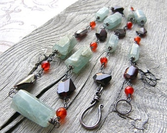 Summer Sale Long Aquamarine, Garnet and Carnelian Wire Wrapped Necklace, Statement Gemstone Necklace