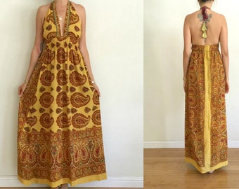 Vintage UPCYCLED Yellow Mustard Burgundy Multi Color INDIA Ethnic Paisley Print Cotton Triangle Halter Maxi Dress SM