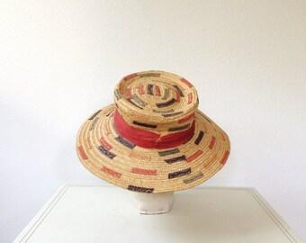 vintage straw hat / 1960s hat / Elba straw hat