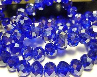 8 AB Cobalt Blue 6mm  Crystal Rondelle Beads 8