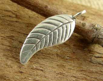 Long Curved Leaf - Hill Tribe Fine Silver - Thai Silver Leaf - One Piece - htfslcl
