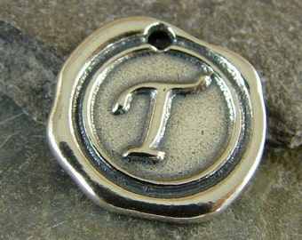 Sterling Silver Round Wax Seal Pendant - Letter T - Artisan Sterling Silver Monogram - Initial Pendant - Letter Charm - rws