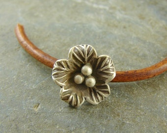 Tiny Flower Button - Hill Tribe Fine Silver - Perfect For Leather Wrap Bracelets - sbtfhtfs