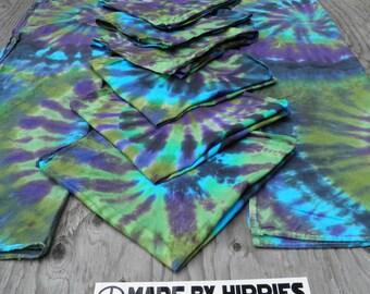 "Tie Dye Kitchen Set #4: Rainforest Spiral (2 Cotton Tea Towels (20x36"") and 6 Napkins (22x22""))"