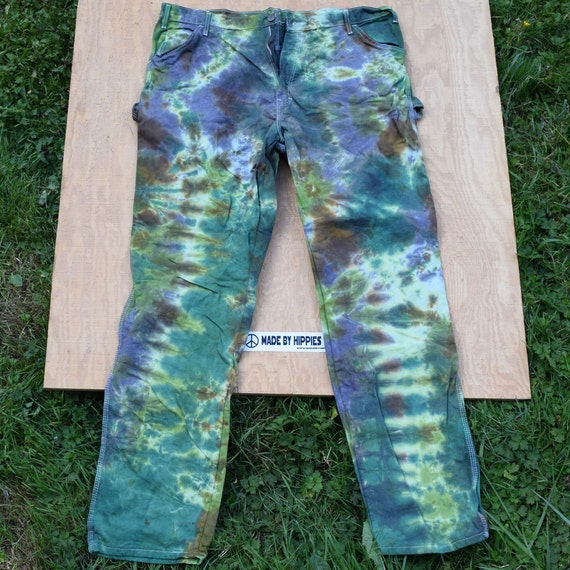 Camo Forest Tie Dye Jeans (Dickies Painters Pants Size 40x34) (One of a Kind)