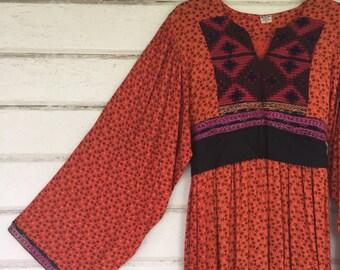 VINTAGE Afghani hand embroidered angel sleeve maxi dress