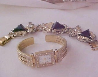 Beautiful Diamante BRACELET Watch ~ Gold Plate  ~Stainless Back  ~   Encrusted Pave  Rhinestones