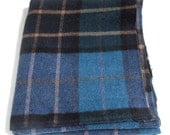 Vintage Wool Fabric, Plaid, Blues, Wool Yardage, Hooking, Small Projects, Wool Fabric, Wool Applique, Penny Rugs