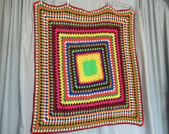 Colorful Blanket Vintage Afghan Knit Crichet Throw Small Sofa Blanket Neon Green Square Hot Pink Yellow Black Red Blue White Rainbow 48 x 48