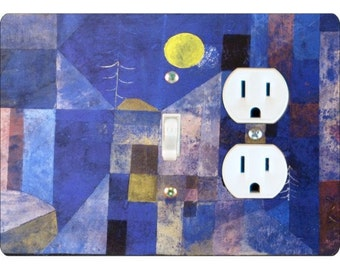 Paul Klee Moonlight Painting Toggle Switch and Duplex Outlet Double Plate Cover