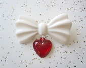 White Bow Brooch with Red Heart - Novelty Brooch - 1940s - 1950s Inspired