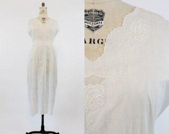 20s Dress Nightgown Large XL Plus / 1920s Vintage Scalloped Slip / Je T'Adore Dress