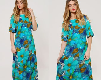 Vintage 60s Floral HAWAIIAN Maxi Dress Rockabilly TIKI Dress Summer LUAU Dress Blue Maxi Dress