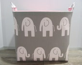 XL EXTRA LARGE - Fabric Basket Storage Container Bucket - Toy Bin - Laundry Basket - Home Decor - Nursery - Kids Room - Grey/White Elephants