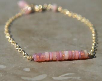 Pink Ethiopian Opal Bar Bracelet Gold