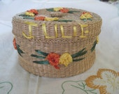 Vintage Wicker Sea grass Raffia Covered Round Trinket Box Julie is your name With Orange & yellow flowers