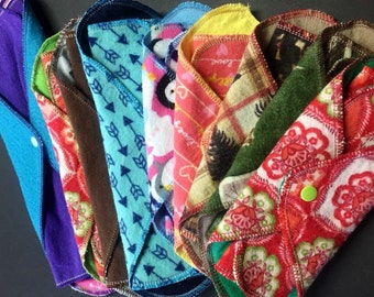 Complete Set of 9 MamaBear LadyWear Quick-Dry cloth menstrual pads - Heavy, Medium & Light Flow