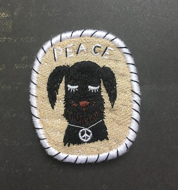Textile Dog Brooch - Peaceful dog-  Funny Dogs - collection, hand embroidered textile jewelry, pet portrait brooch.