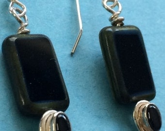 Black Onyx and Czech Glass Beaded Earrings with Sterling Silver French Hooks