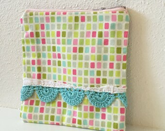 Zipper Pouch with Heather Bailey Fabric and Vintage Aqua Crochet Trim