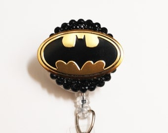 Batman Symbol ID Badge Reel - Retractable ID Badge Holder - Zipperedheart