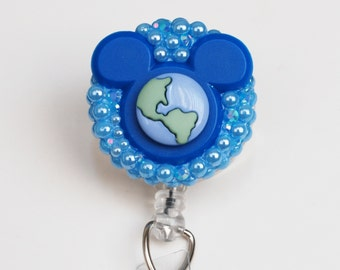 Disney World ID Badge Reel - Retractable ID Badge Holder - Zipperedheart