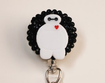 Disney Baymax On Black ID Badge Reel - Retractable ID Badge Holder - Zipperedheart