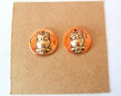 Artisan Tiny Owl Copper and Brass Findings Pair