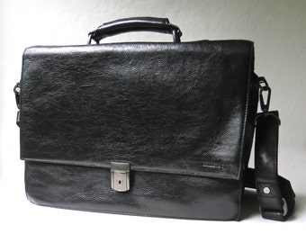 Kenneth Cole vintage Black Leather Briefcase with Detachable Shoulder Strap / Kenneth Cole New York Briefcase