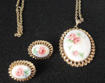 Gold Tone metal With Pink Roses Porcelain Cameo Demi-Parure Necklace and Earrings Set.
