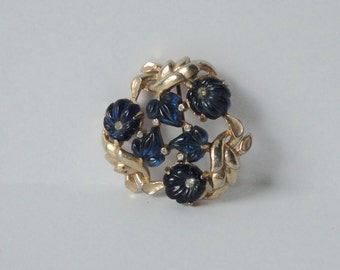 Vintage Gold tone with Blue Lucite and Rhinestones Flowers and Leaves Brooch.