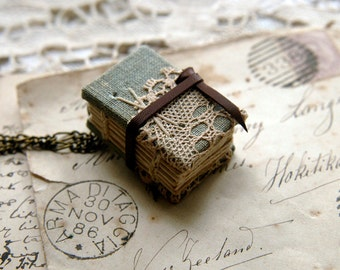 Tiny Tales No.4 - Miniature Wearable Book, Vintage LInen & Lace, Tea Stained Pages, OOAK
