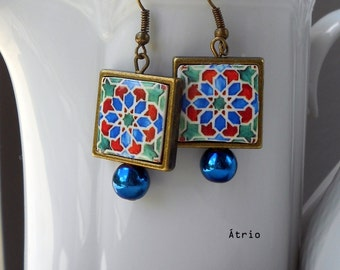 "Portugal  Antique Azulejo Tile FRAMED Earrings, Geometric  ""Ilhavo"" - Arista Zellige Majolica Moroccan - waterproof and reversible 548 F"