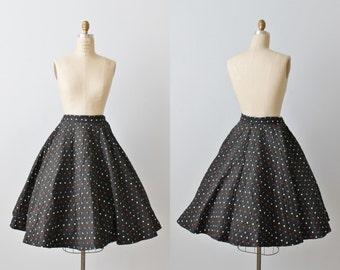 1950s Circle Skirt / 50s Full Skirt / Swing Skirt /  Polka Dot Print Skirt / Quilted Skirt