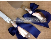 Elite Satin Cake Server Set with Rhinestone Accent ..You Choose The Bow Colors..shown in navy blue/ivory/coral peach accent