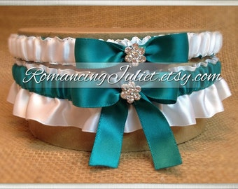 Satin Bridal Garter Set with Rhinestone Accents..1 to Keep 1 to Toss...MANY COLORS AVAILABLE... Shown in teal/white
