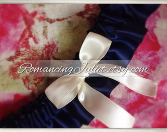 Satin Skirted Satin Bridal Garter...Custom Colors Available..shown in ivory/navy blue midnight