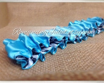 The Original Fully Reversible Bridal Garter..You Choose The Colors..shown in turquoise/zebra