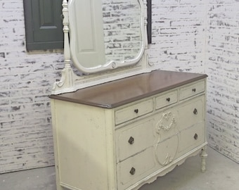 Dresser with Swivel Mirror, Weathered White Cottage Style - DR804 Shabby Farmhouse Chic, Chest, Nursery Furniture