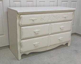 3-Drawer Dresser, Distressed White Cottage Style - DR501 Shabby Chippy Farmhouse Chic