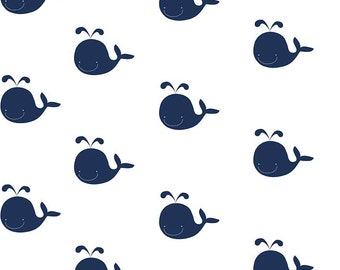 SPRING SALE  - 1 1/4 Yards - Blanket Cut - Double Gauze - Whales in Navy - G584-Navy - Riley Blake Designs