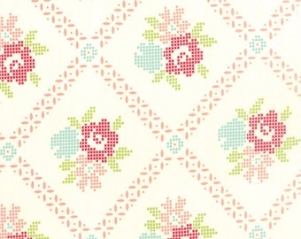 FALL SALE - 6 1/8 Yards - Mayberry Mum Coral Pink - Vintage Picnic - (55120-17) - Bonnie and Camille - Moda Fabrics