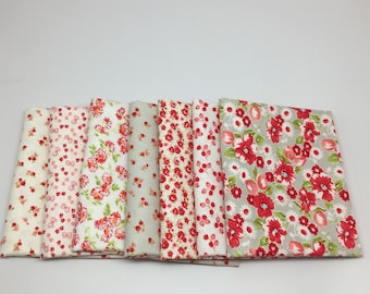 SUMMER SALE - Fat Quarter Bundle (7) - Low Volume Little Ruby Gray and Cream - Bonnie and Camille for Moda Fabrics